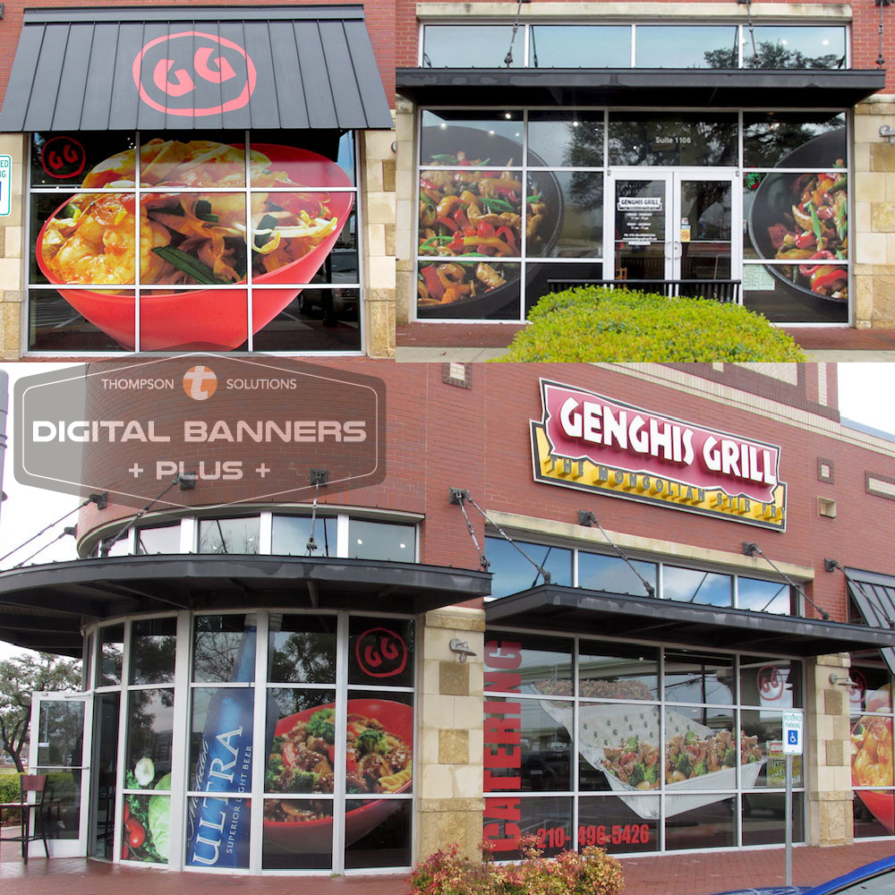 Digital Banners Plus takes this restaurant's windows from blank and boring to eye-catching, with pictures of the food they serve