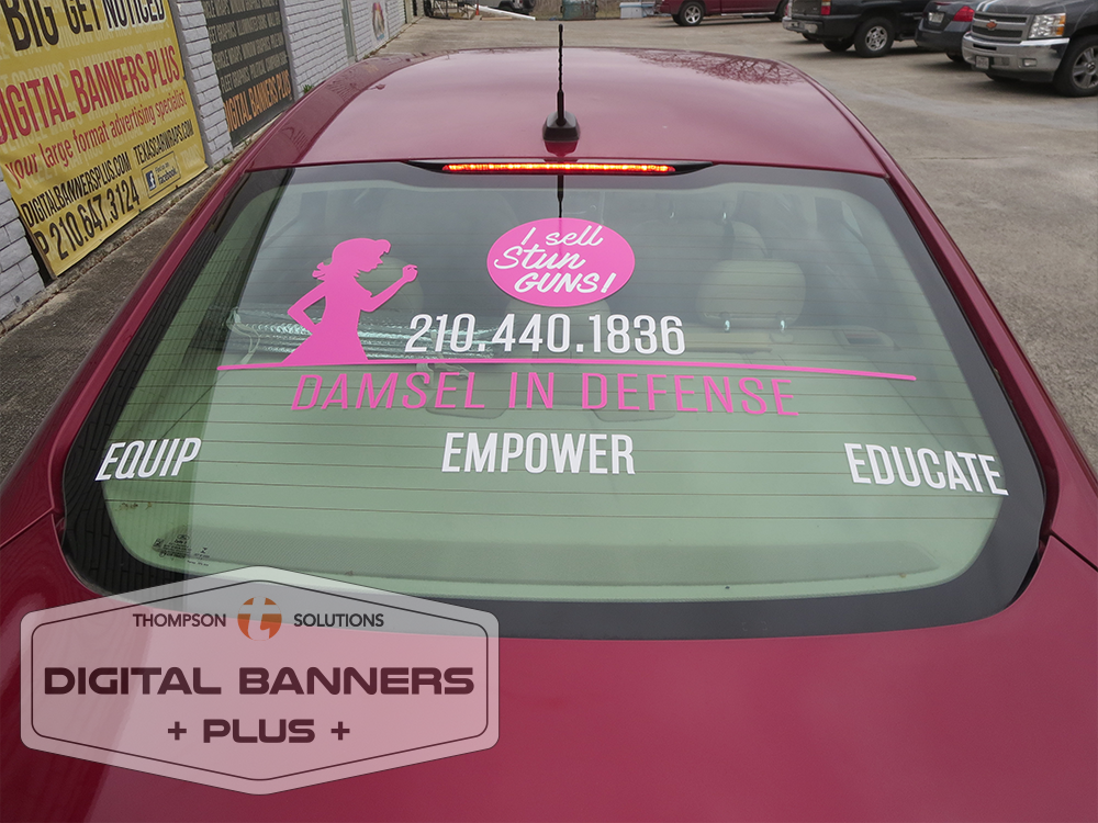 Even Digital Banners Plus' simple graphics on vehicle windows can convey your message wherever you go