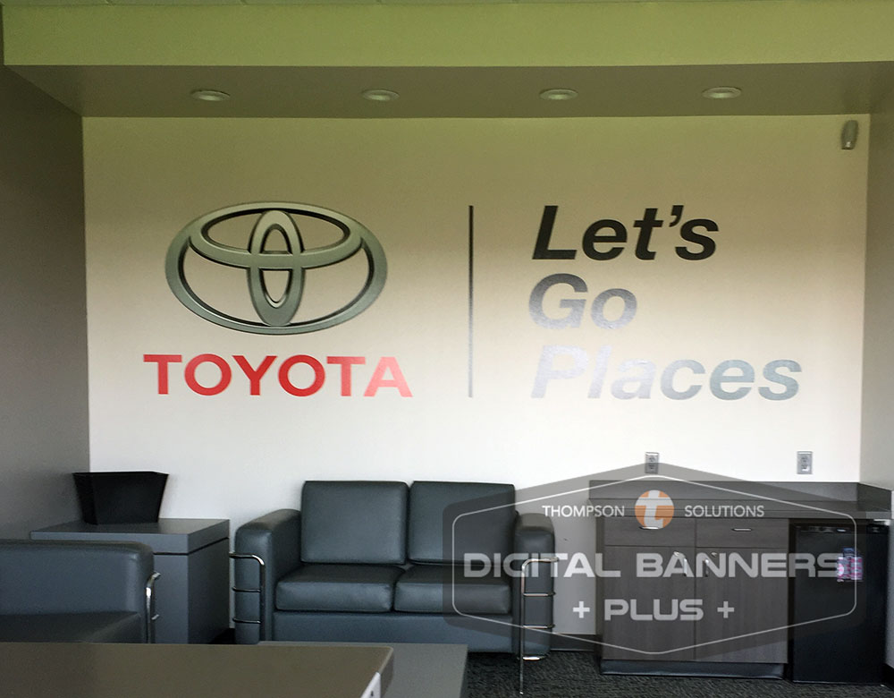 Digital Banners Plus can add your brand's logo or tagline to make an accent wall.