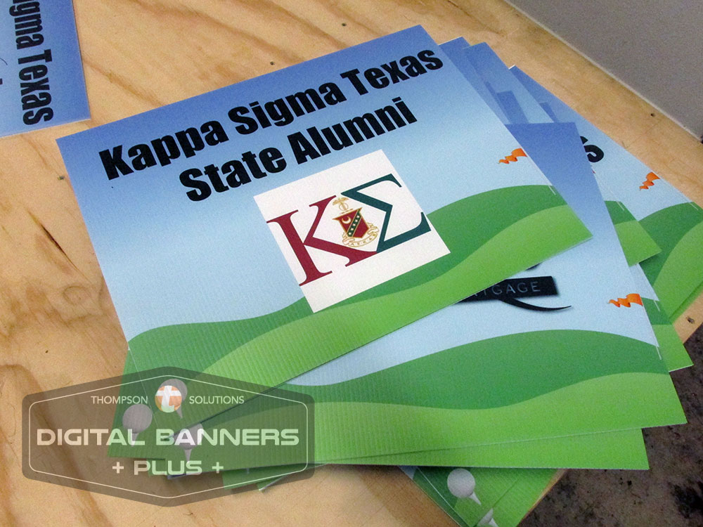 Digital Banners Plus makes yard signs for any event, like this one for a golf game