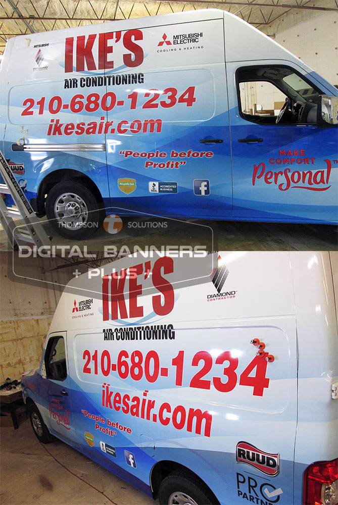 Fleet vehicle wraps by Digital Banners Plus make great mobile billboards, advertising your business everywhere they go