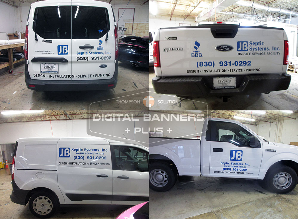 Digital Banners Plus Lettering is a more economical option for fleet vehicles