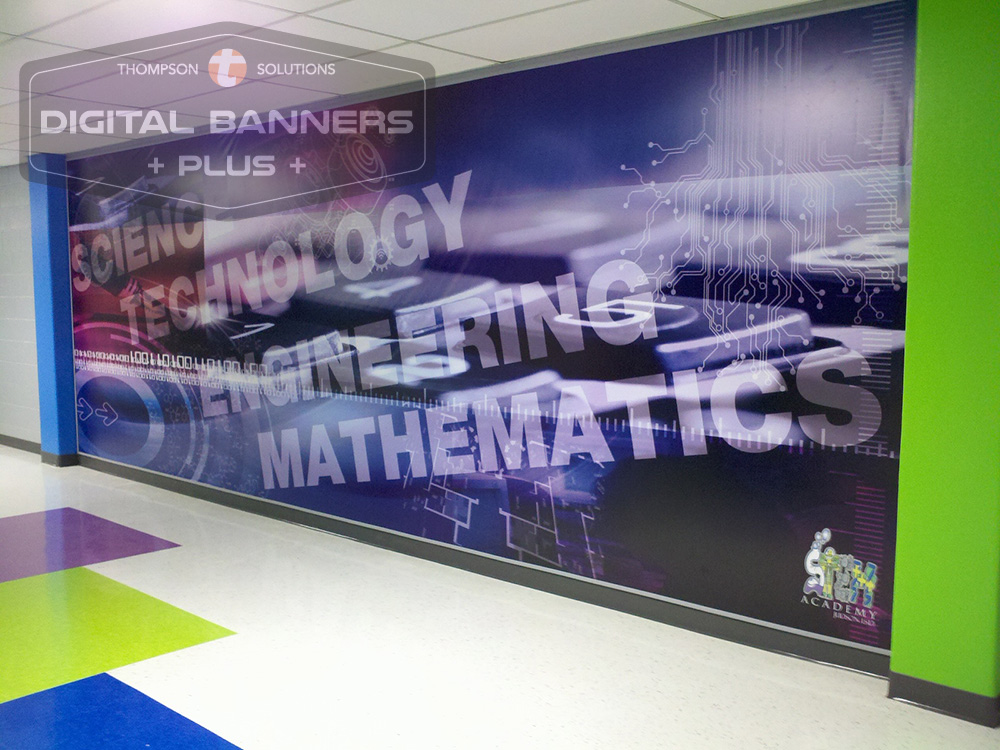 School hallways look great when upgraded with Digital Banners Plus wall wraps.