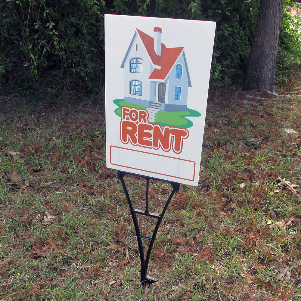 "Digital Banners Plus stocks yard signs and hardware, like this ""For Rent"" sign"