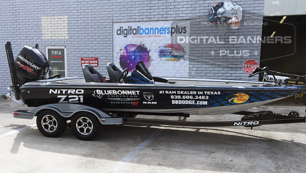 Bluebonnet Dodge wrap on boat