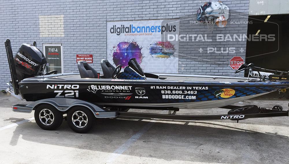 Bluebonnet Dodge wrap on boat