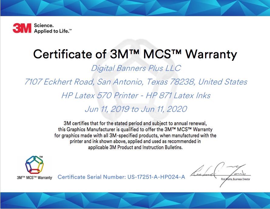 3M™ MCS™ Warranty Certification