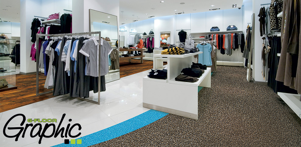 custom printed G-flooring in store